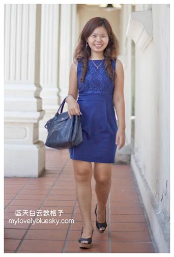 Whitesoot:Fleur Lace Sleeveless PETITE Dress in Monaco Blue