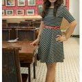 COVETZ: COVETZ Belted Stripe Skater Dress