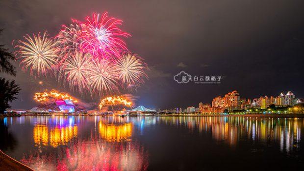 新加坡旅游:国庆日彩排烟火