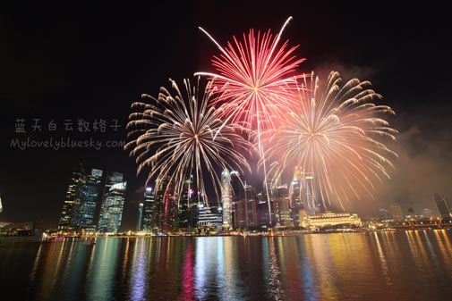 Fireworks display over Marina Bay Singapore
