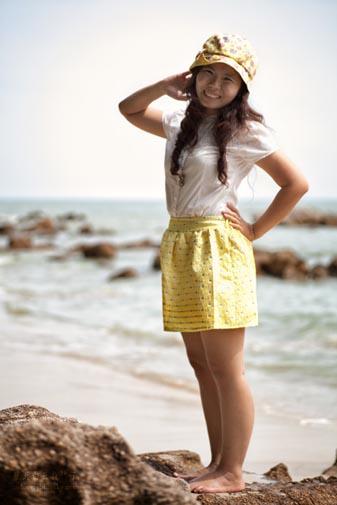 Dainty Closet - Yellow Skirt with Blue Dot