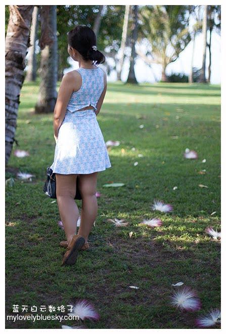 Cut Out Back Soft Denim Dress(Light Blue)